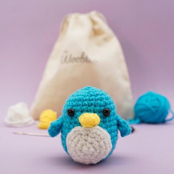 Beginner Crochet Kit Penguin by The Woobles - Easy First Crochet Starter Kit - Crochet Plushie Kit - Amigurumi Kit - DIY Craft Kit Gift
