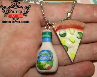 Hidden Valley Ranch Miniature dressing bottle and Slice of Pizza (CHOOSE you TOPPINGS!) handmade clay faux food miniature food jewelry