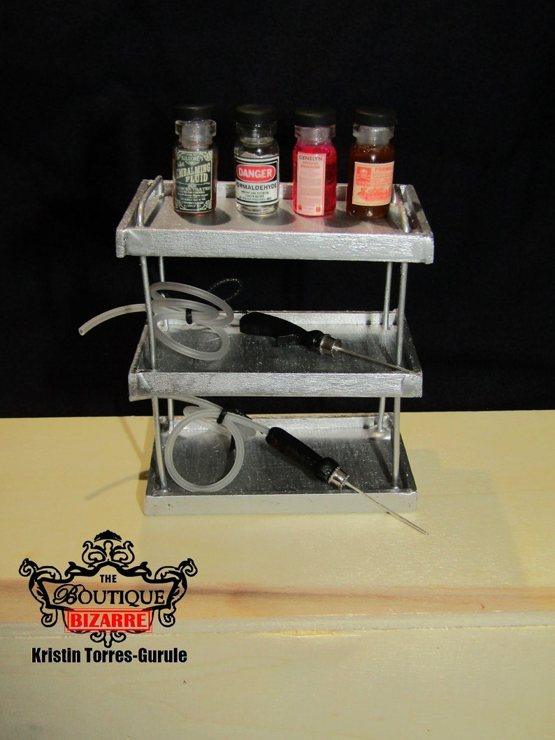 1:12 Scale Mortuary Funeral Home Miniatures Embalming Work station metal  silver medical table embalming chemical vials trocar funeral home