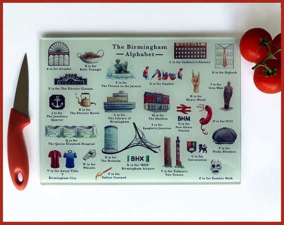 Tempered Glass Cutting Board featuring The Birmingham Alphabet. Birmingham UK Chopping Board. Housewarming gift, Leaving Gift, New Home Gift