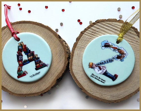 Set of 2 Alphabet Christmas Tree Ornaments