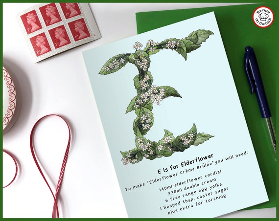 E is for Elderflower Recipe Greeting Card - A5
