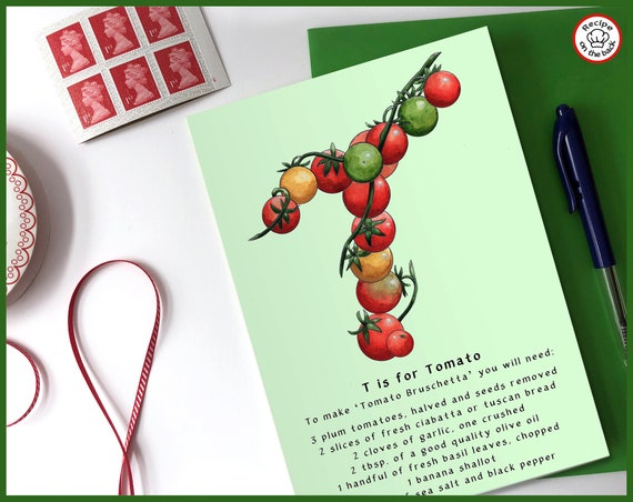 T is for Tomato Recipe Greeting Card - A5