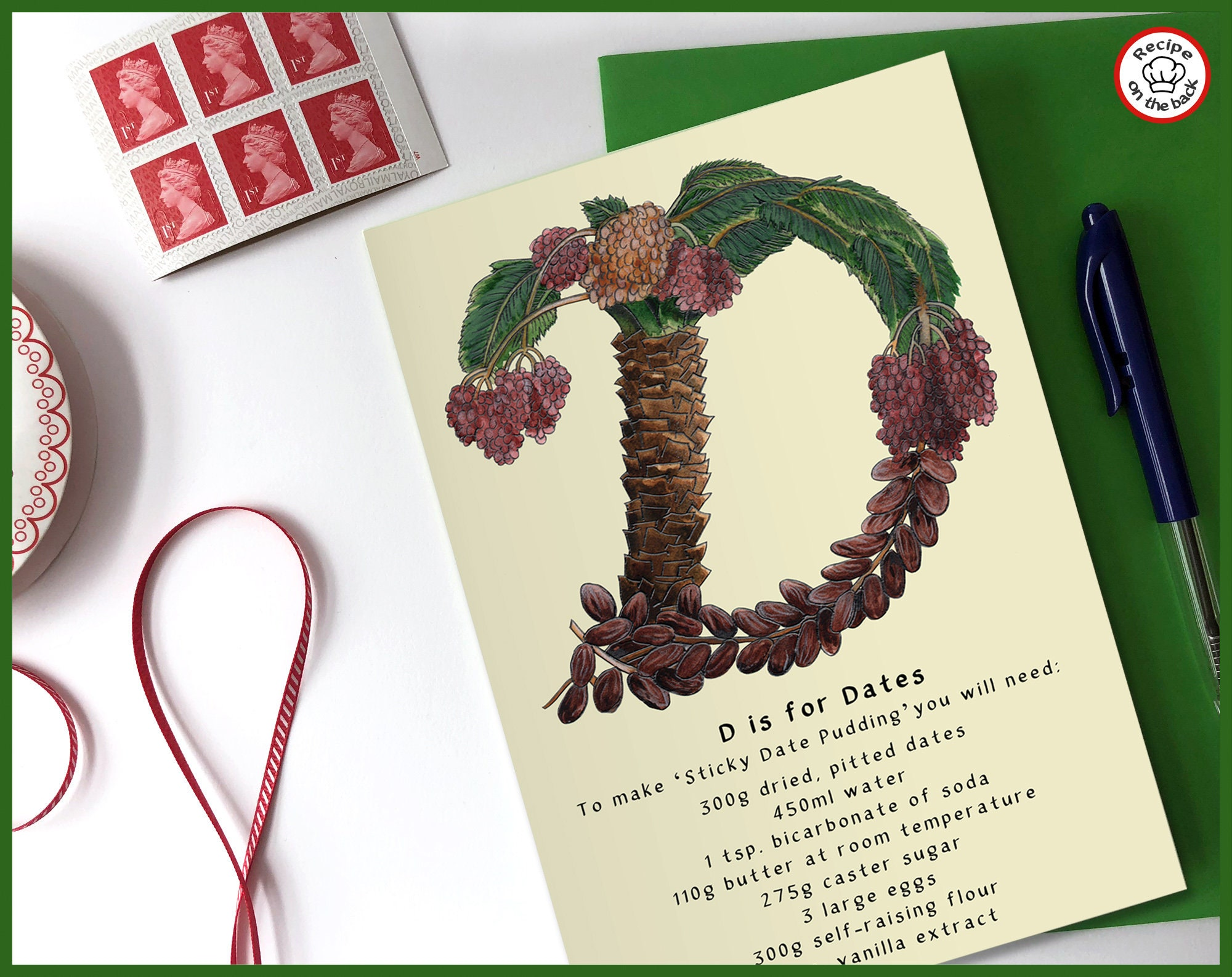 D Is For Dates Recipe Greeting Card A5