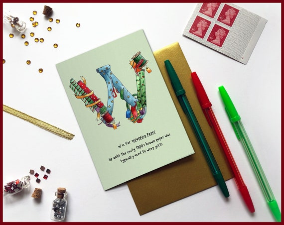 W is for Wrapping Paper Christmas Card
