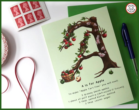 A is for Apple Recipe Greeting Card - A5