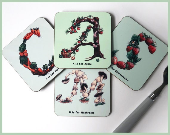 Set of Four Personalised Alphabet Coasters