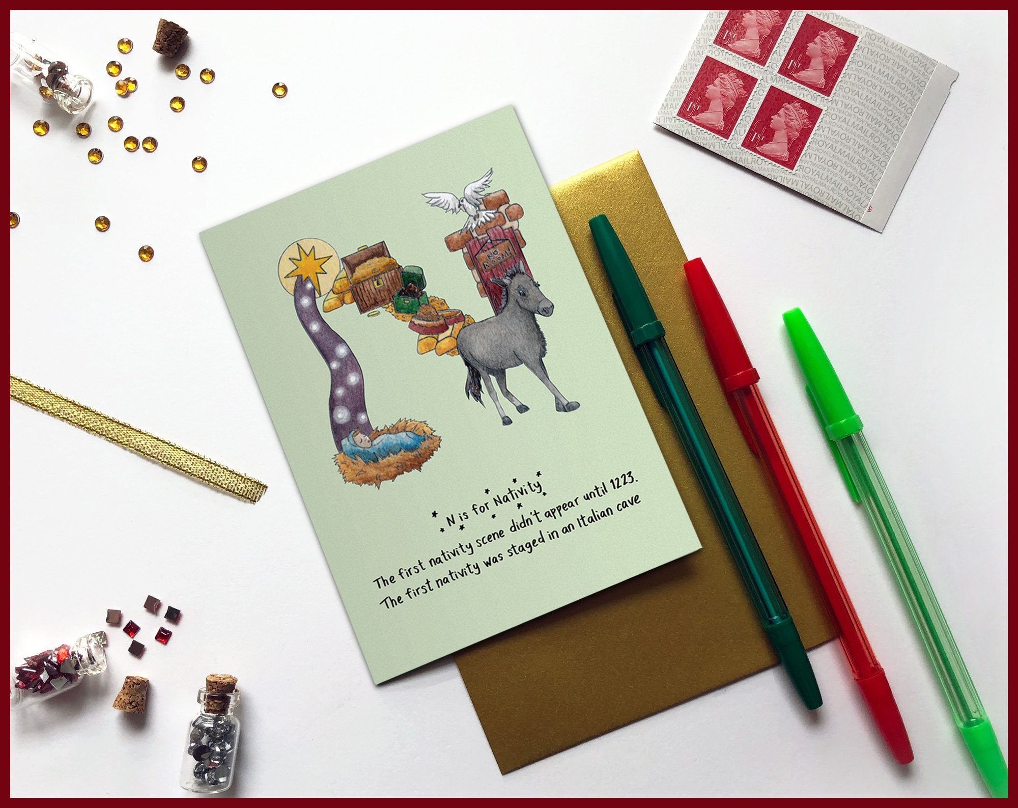 N Is For Nativity Christmas Card