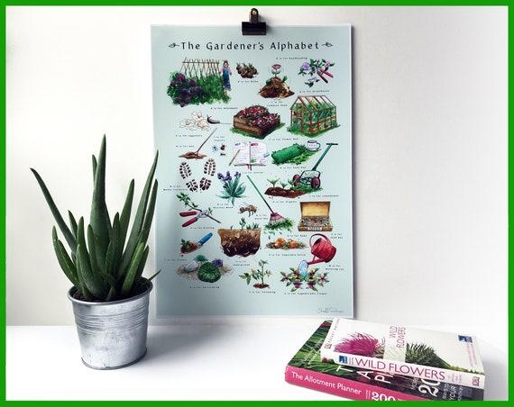 The Gardener's A-Z signed fine art print. Gardening gift idea, gift for gardener, Gardeners alphabet, gift for florist, wall art,