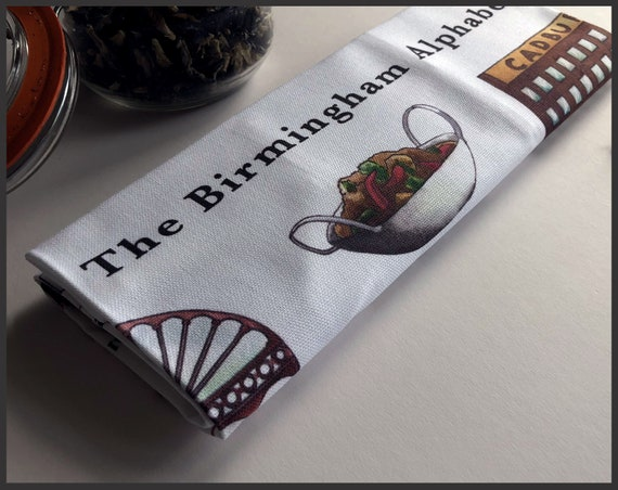 The Birmingham Alphabet Premium Cotton Tea Towel