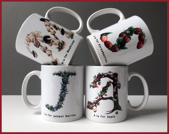Set of 4 Culinary Alphabet Mugs
