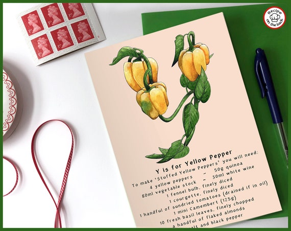 Y is for Yellow Pepper Recipe Greeting Card - A5