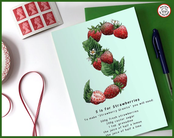 S is for Strawberries Recipe Greeting Card - A5