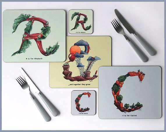 Set of 4 Fruit and Vegetable Alphabet Placemats and Coasters
