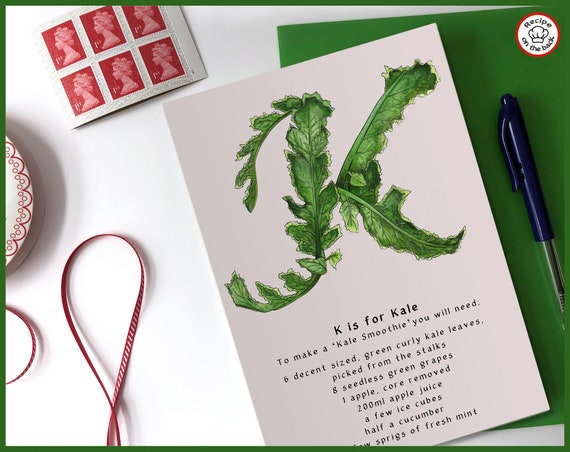 K is for Kale Recipe Greeting Card - A5