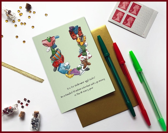 U is for Underpants and Socks Christmas Card
