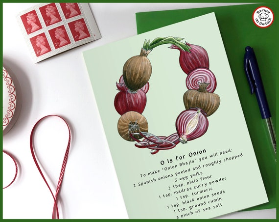 O is for Onion Recipe Greeting Card - A5