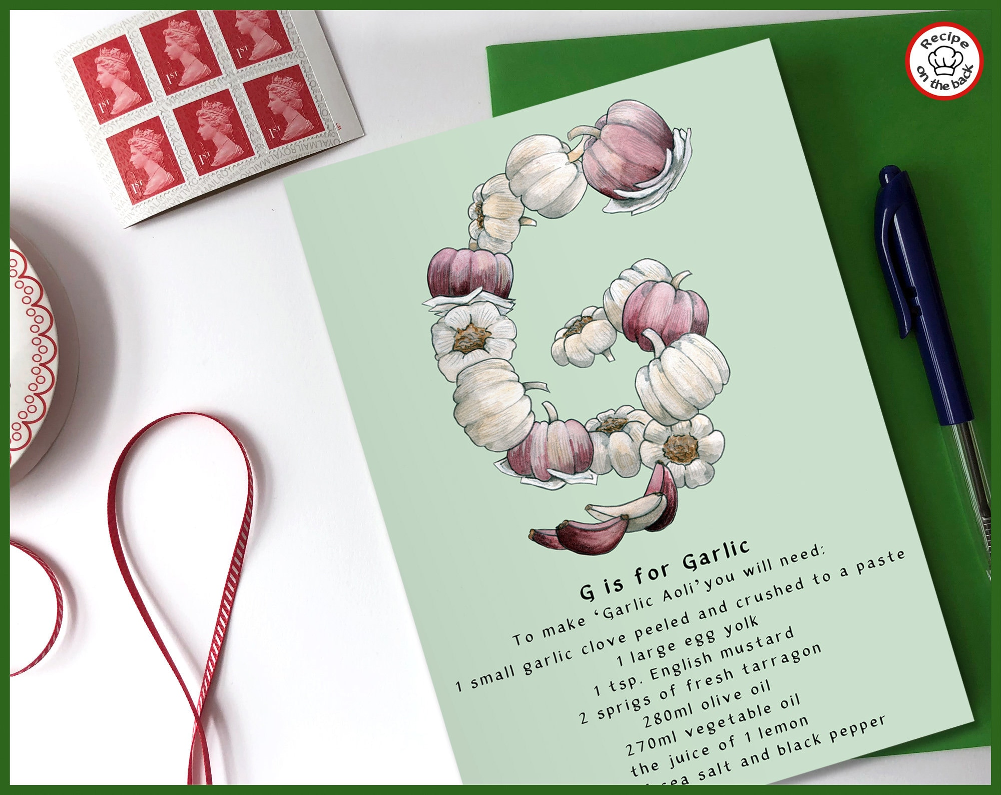 G Is For Garlic Recipe Greeting Card A5
