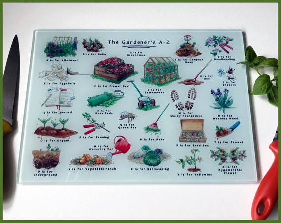 The Gardeners A-Z Glass Chopping Board