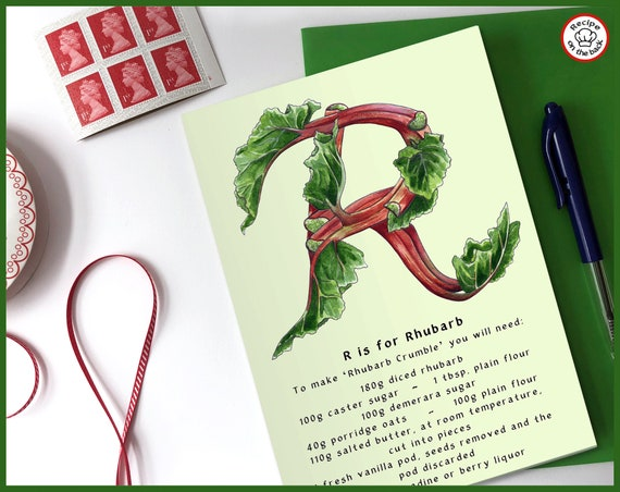 R is for Rhubarb Recipe Greeting Card - A5