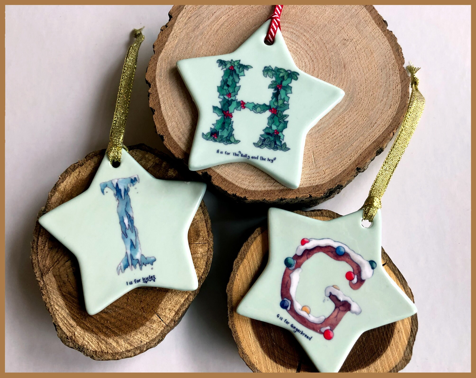 Alphabet Christmas Tree Ornaments