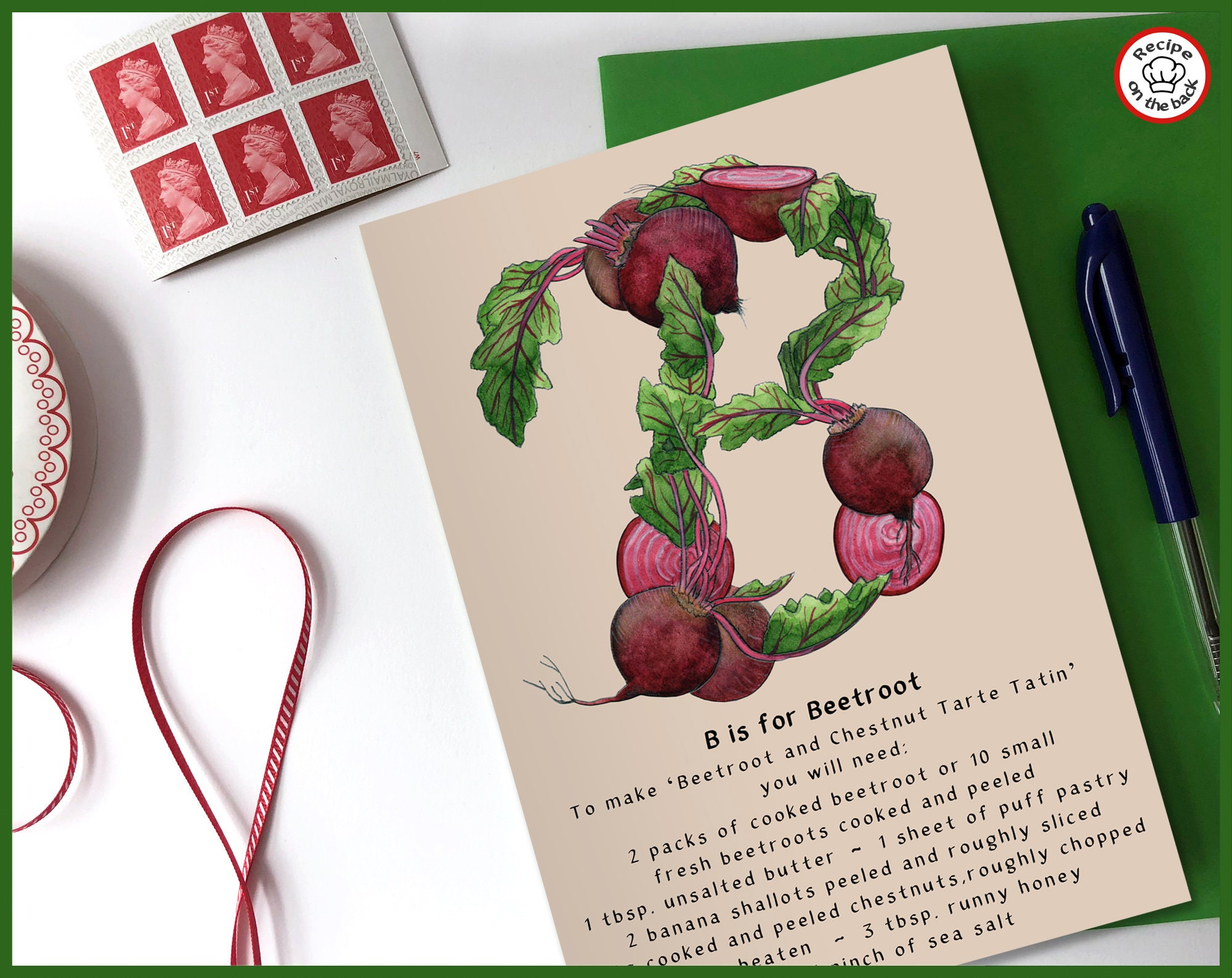 B Is For Beetroot Recipe Greeting Card A5
