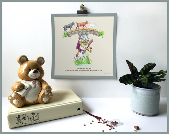 T is for The Three Billygoats Gruff Art Print