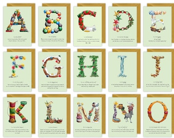 Multipack Alphabet Letter Christmas Cards, Packs of 5 and 10 - Choose your own letters - Personalised Christmas Cards for each family member