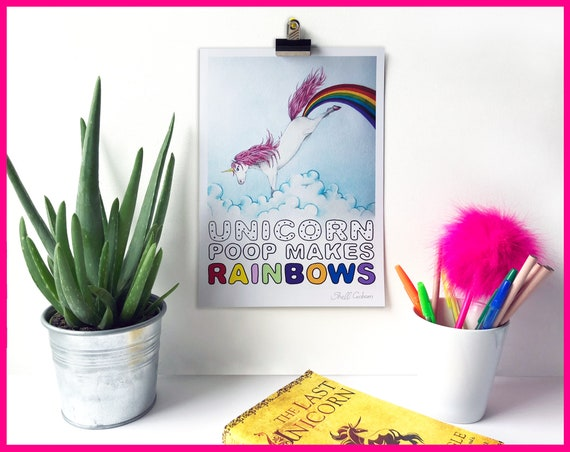 Unicorn Poop Makes Rainbows! Signed Art Fine Art Print