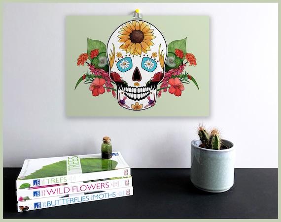 Summer Sugar Skull Signed Fine Art Print