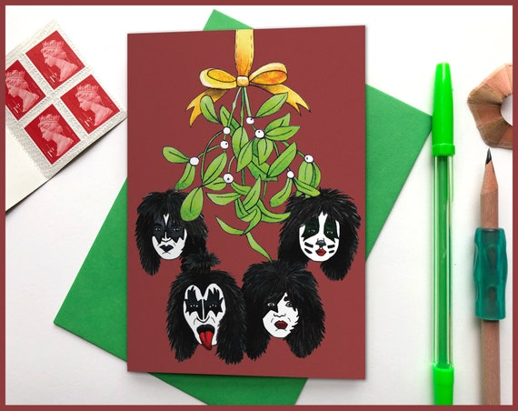 Kiss under the mistletoe Christmas Card - Kiss the band Gene Simmons