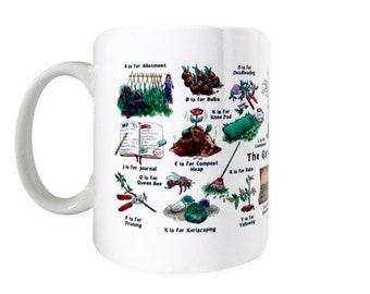 Gardeners A-Z Ceramic Mug for Gardener Lover! Gift for Dad or Gardening Mum. Retirement gift for her, Retirement Gift Men. Fathers Day Gift