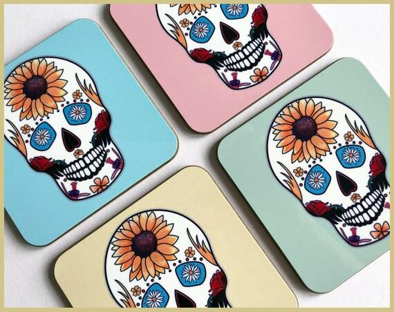 'Summer' Sugar Skull Coasters