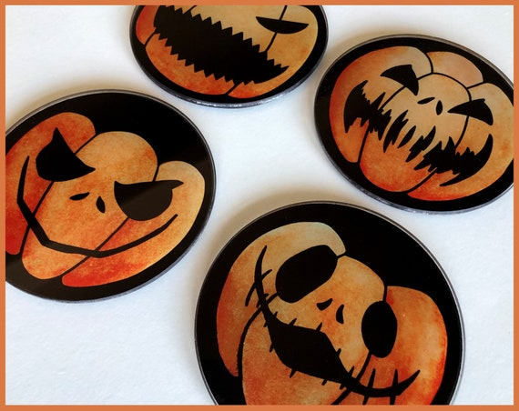 Set of 4 Glass Jack o Lantern Coasters