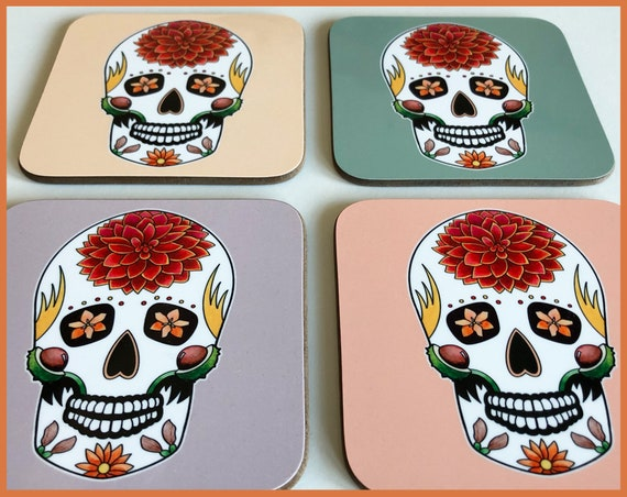 'Autumn' Sugar Skull Coasters
