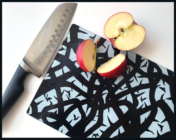 Queen of Thorns Glass Chopping Board, Handprinted chopping board, Brambles, Thorns, Gothic cutting board, monochrome kitchen,black and white