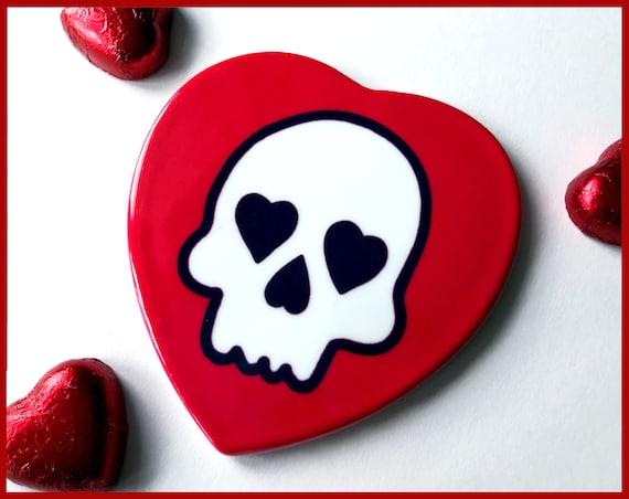 Heart Shaped Ceramic Skull Coaster