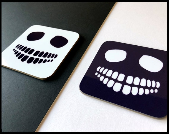 Black and White Skull Coaster - Set of Two