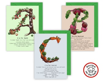 A-Z Fruits and Vegetables Recipe Birthday Cards. Alphabet Cards for Foodies, Cards for Food Lovers, Keen Cooks and Gardeners. Initial Cards
