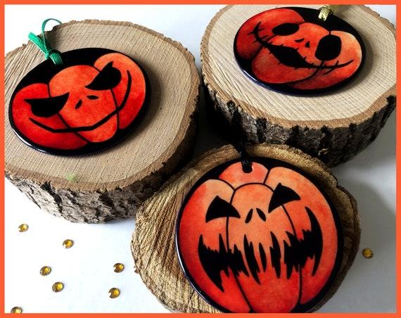 Ceramic Pumpkin Christmas Decorations - Hand Printed - Alternative christmas - Gothic christmas - Halloween - Tree Ornaments