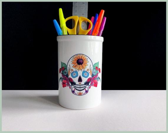Ceramic 'Summer' Sugar Skull Pot