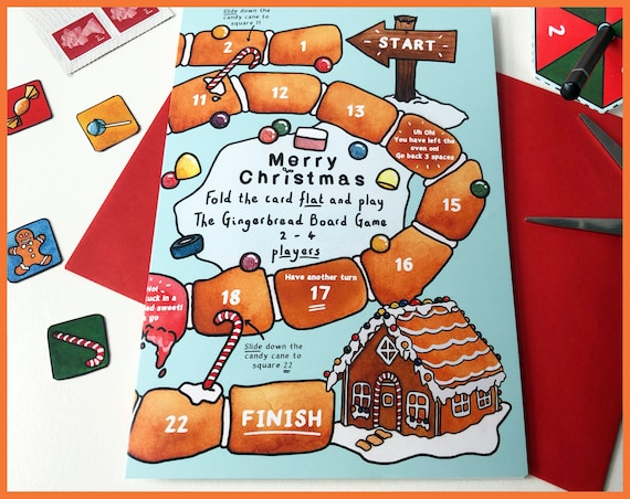 Gingerbread Board Game Christmas Card, Send More than a Card, Christmas Cards, Xmas, Christmas board game, cards for children, gift card
