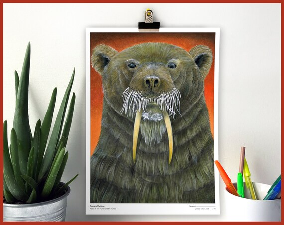 Rosmarus Maritimus Limited Edition Print Part 3 of The Hunter and the Hunted Walrus and Polar Bear Animal Portrait