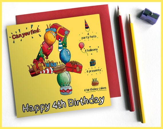 4th Birthday Activity Card