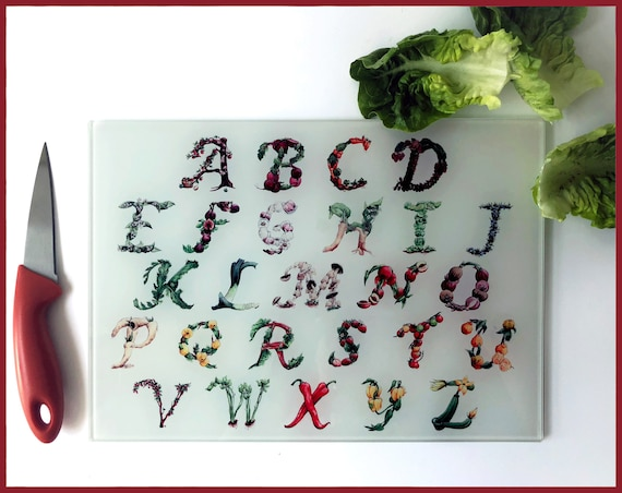 The Culinary Alphabet - Hand Printed Glass Cutting Board, Mothers Day Gift, Vegan Gift, Vegetarian Gift, Vegetable Print, Chopping board