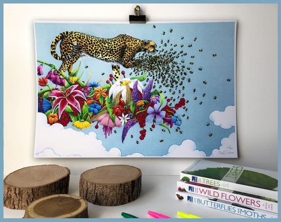 Antheia's Onus Archival Limited Edition Print of 50 Cheetah, Jaguar, Leopard, Save the Bees! Artwork, wall art, cheetah wall art, cat print