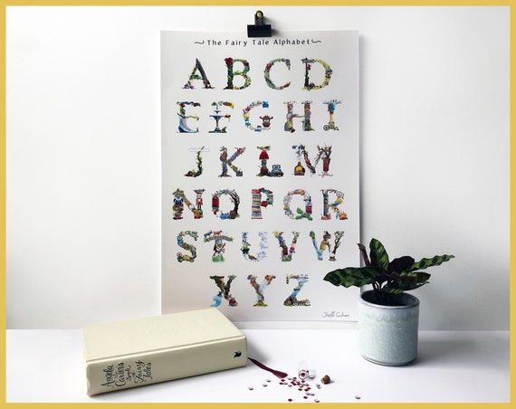 Alphabet A-Z signed learning chart art print - Fairytale font - Great for children's bedroom and nursery / New Baby Gift / Christening Gift