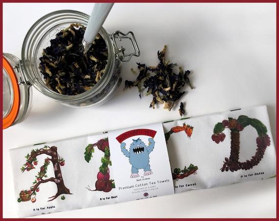 The Culinary Alphabet - Premium Cotton Tea Towel, Dish Towel, Kitchen Towel, Mothers Day Gift, Vegetable Print, Vegan, Vegetarian, Tea Towel