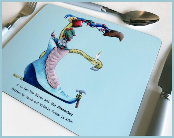 Set of 4 Fairy Tale Alphabet Placemats and Coasters