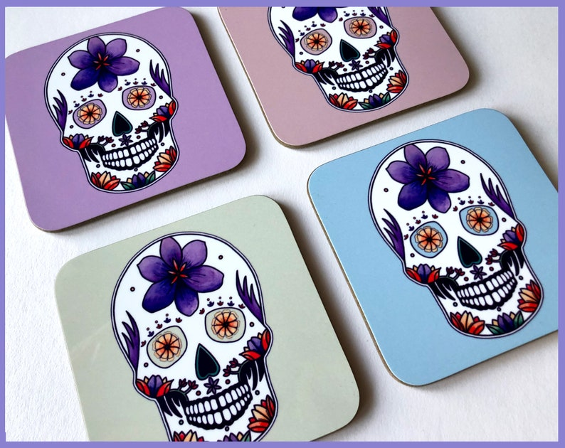 Pastel Goth Sugar Skull Coasters Day Of The Dead Wooden Coasters Gothic Home Decor Coaster Set Unique Mexican Sugar Skull Coasters